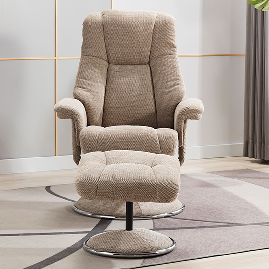Dollis Fabric Swivel Recliner Chair And Footstool In Biscotti_9