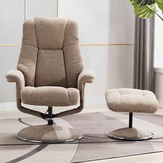 Dollis Fabric Swivel Recliner Chair And Footstool In Biscotti_10