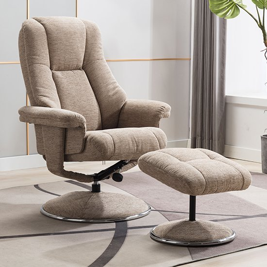 Dollis Fabric Swivel Recliner Chair And Footstool In Biscotti_1
