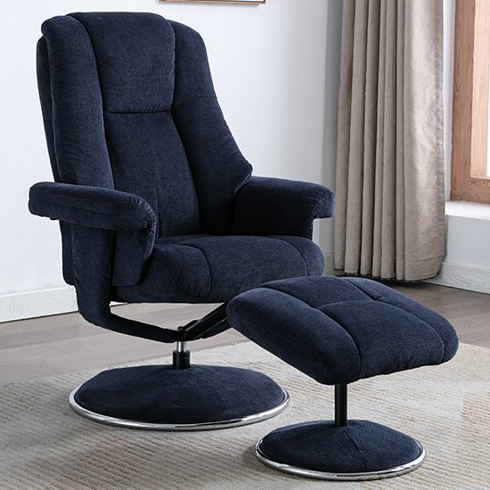 View Dollis fabric swivel recliner chair and footstool in blue