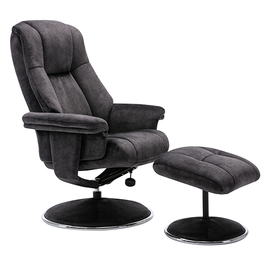 View Dollis fabric swivel recliner chair and footstool in liquorice