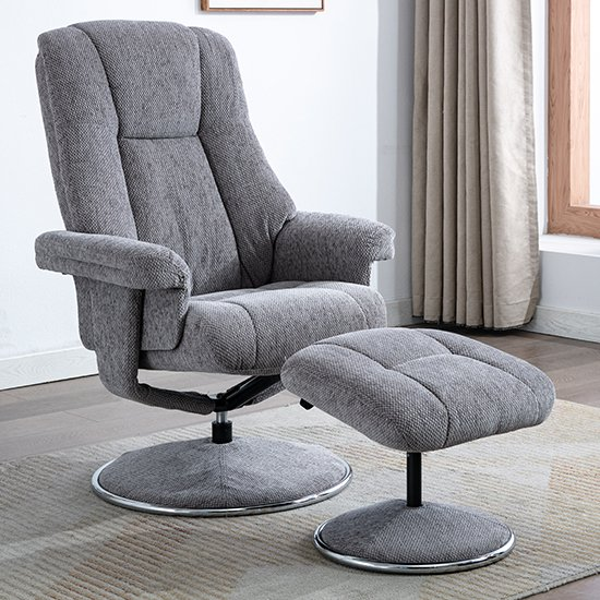 Dollis Fabric Swivel Recliner Chair And Footstool In Pewter