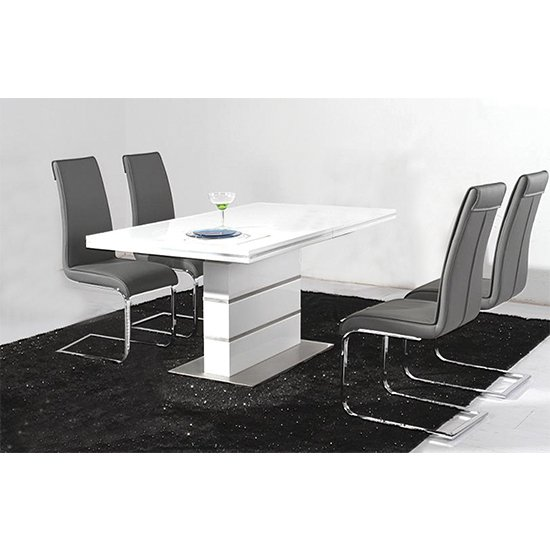Dolores Wooden Dining Set In White High Gloss With 4 Chairs
