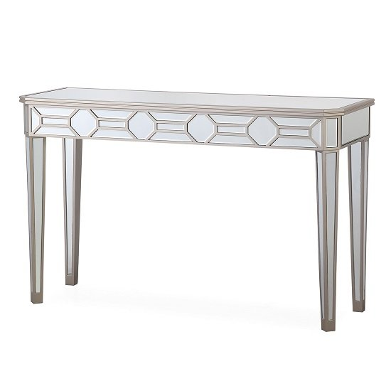 Dominga Mirrored Console Table In Silver Finish