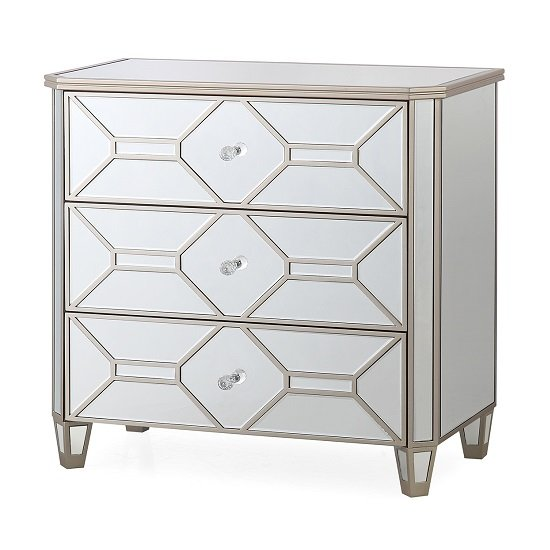 Dominga Mirrored Dressing Chest In Silver With Three Drawers