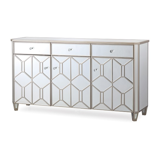 Dominga Mirrored Sideboard In Silver With Three Doors