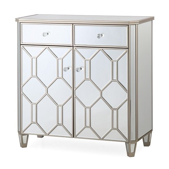 Dominga Mirrored Sideboard In Silver With Two Doors