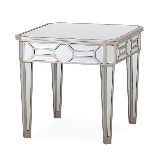 Dominga Mirrored Lamp Table In Silver Finish
