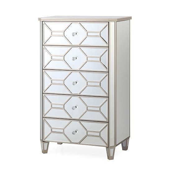 Dominga Mirrored Tall Chest Of Drawers In Silver Finish