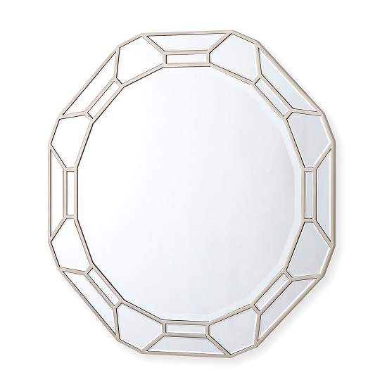 Dominga Round Wall Mirror In Silver Finish