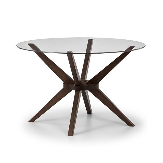 Domino Glass Dining Table Round In Clear With Walnut Legs