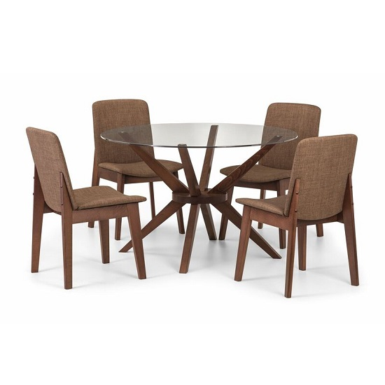 Domino Glass Dining Table Round In Clear With Walnut Legs_2