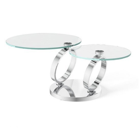 Donatella Magic Ring Swivel Glass Coffee Table With Steel Base_1