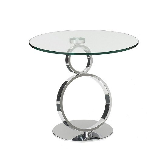Donatella Glass Side Table And Polished Stainless Steel Base