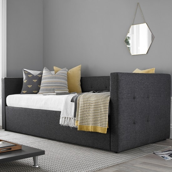 Donatella Modern Sofa Bed In Soft Grey With Storage Drawer_2
