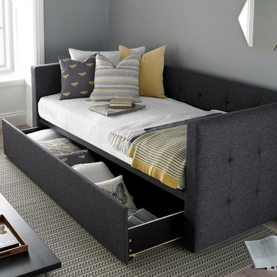 Donatella Modern Sofa Bed In Soft Grey With Storage Drawer_4