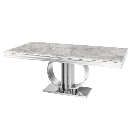 Donatello Large Rectangular Marble Dining Table In Light Grey