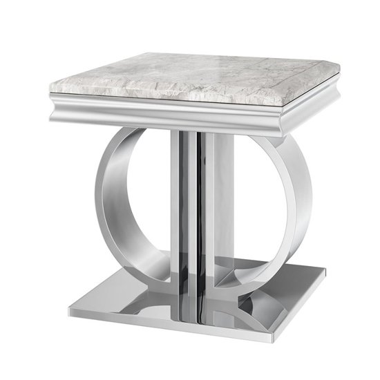 Donatello Marble Side Table In Light Grey