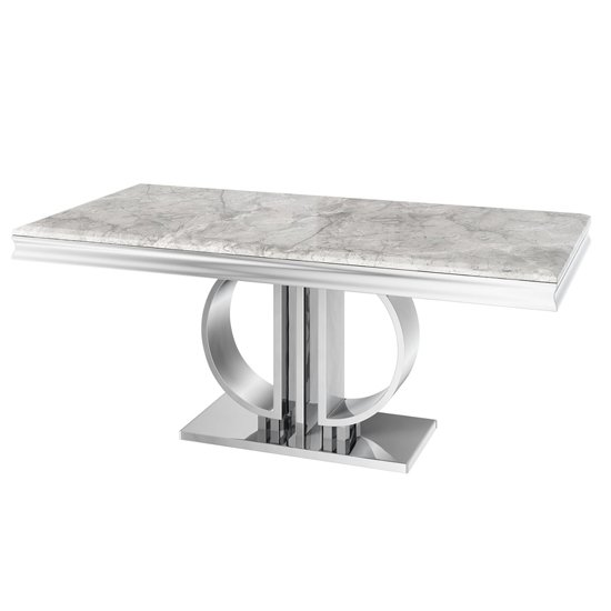 Donatello Rectangular Marble Dining Table In Light Grey