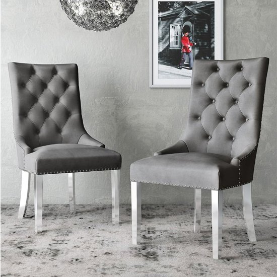 Donatello Silver Grey Velvet Fabric Dining Chairs In Pair
