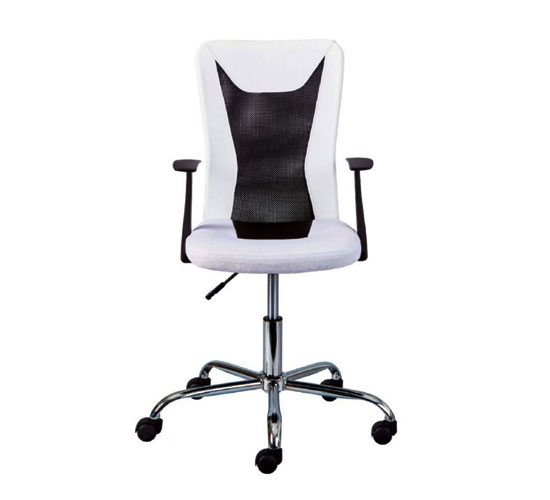 Donny Polyther Office Chair In White With Arms_2