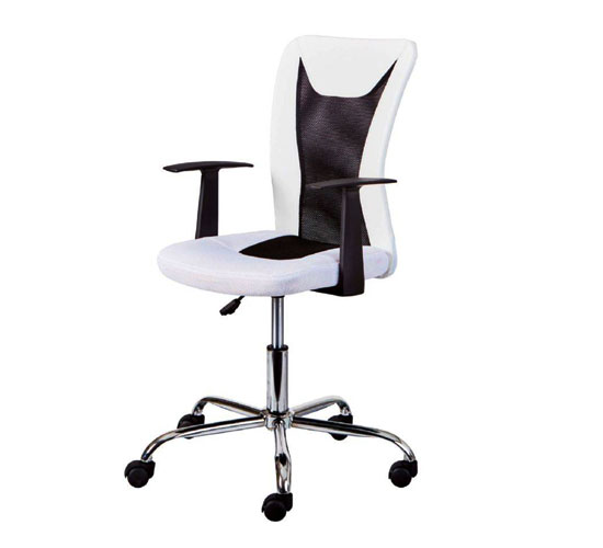Donny Polyther Office Chair In White With Arms_1