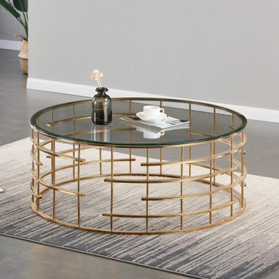 Dora Clear Glass Coffee Table With Gold Stainless Steel Legs
