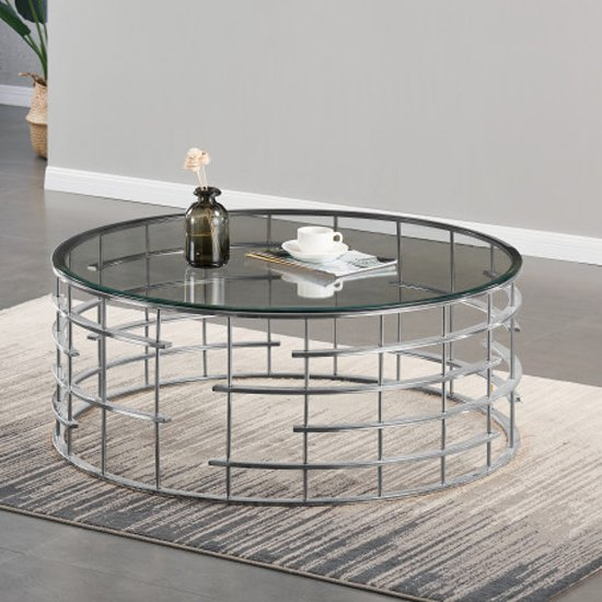 Dora Clear Glass Coffee Table With Silver Stainless Steel Legs