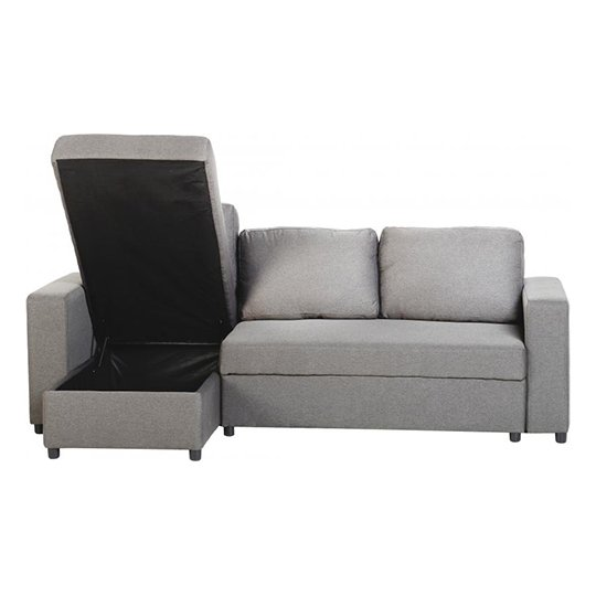 Dexter Fabric Corner Sofa Bed In Light Grey With Plastic Feet_2