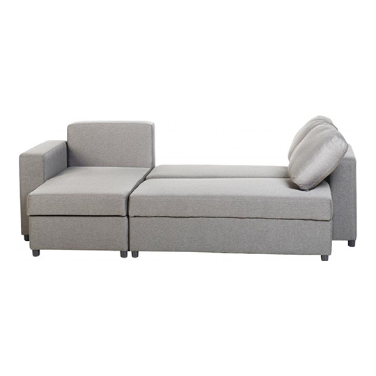 Dexter Fabric Corner Sofa Bed In Light Grey With Plastic Feet_4