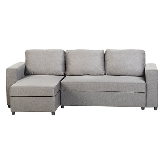 Dexter Fabric Corner Sofa Bed In Light Grey With Plastic Feet