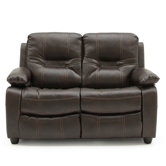 Image of Dorchester Fixed 2 Seater Sofa In Brown Faux Leather