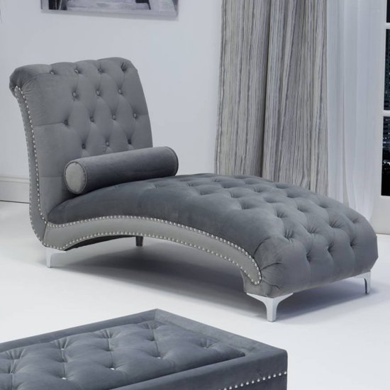 Dorchester Brushed Velvet Lounge Chaise Chair In Grey