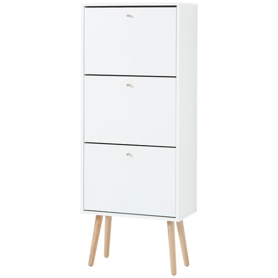 Dorchester Shoe Storage Cabinet In White With Solid Wood Legs