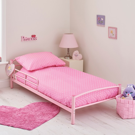 Dorrel Starter Metal Toddler Bed In Pink