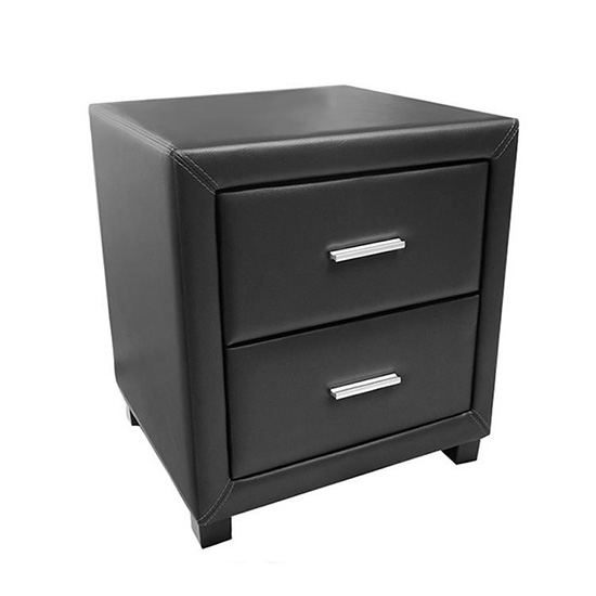 Dorset Faux Leather Bedside Cabinet In Black With 2 Drawers