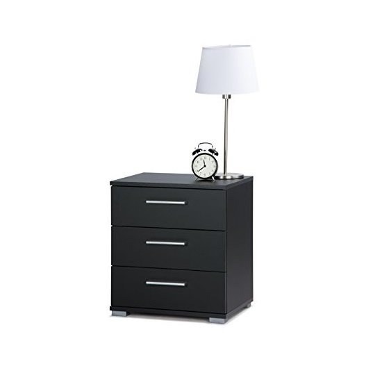 'Douglas Bedside Cabinet In Black With 3 Drawers