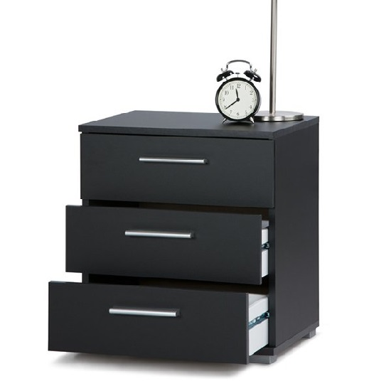 Douglas Bedside Cabinet In Black With 3 Drawers 28308