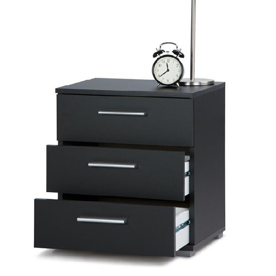 Douglas Bedside Cabinet In Black With 3 Drawers_2