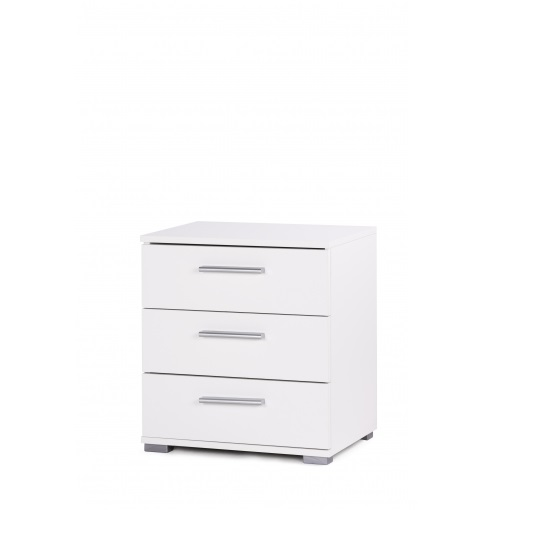 Douglas Bedside Cabinet In White With 3 Drawers