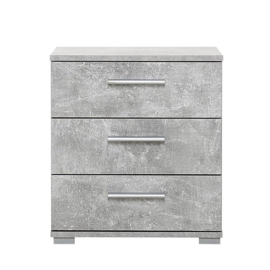 Douglas Bedside Cabinet In Structured Concrete With 3 Drawers