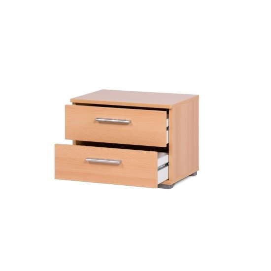 Byron Bedside Cabinet In Beech With 2 Drawers_2