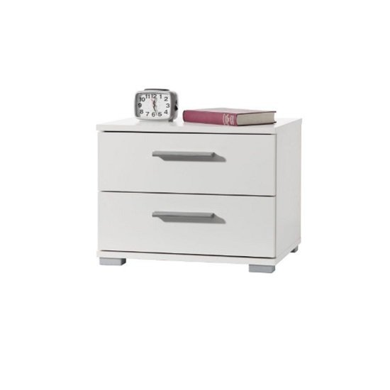 Byron Bedside Cabinet In White With 2 Drawers
