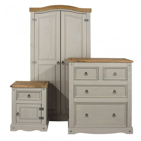 Dove Wooden Trio Bedroom Furniture Set In Grey