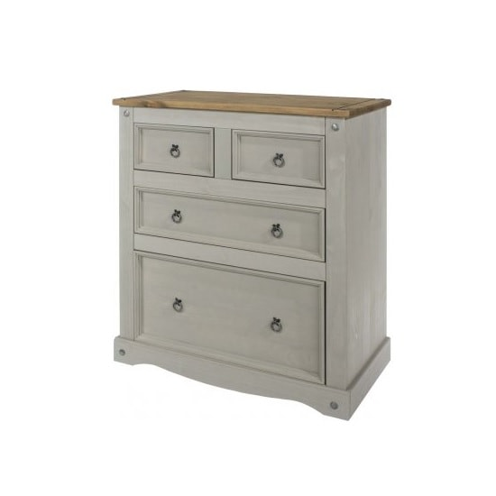 Dove Wooden Chest Of Drawers In Grey With 4 Drawers