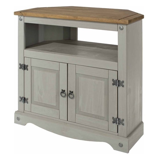 Dove Wooden Corner TV Stand In Grey With 2 Doors