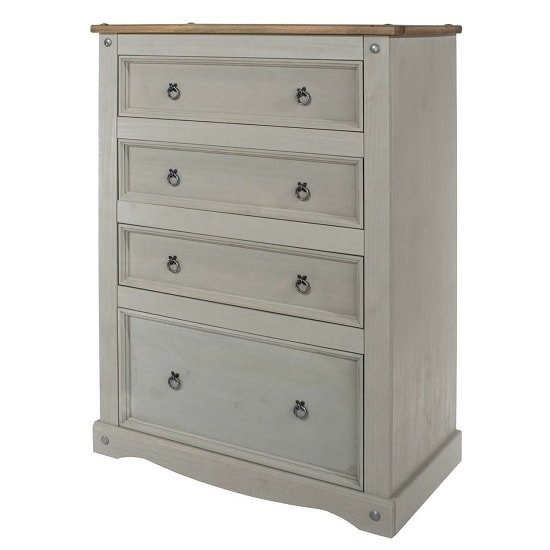 Dove Wooden Chest Of Drawers Tall In Grey With 4 Drawers