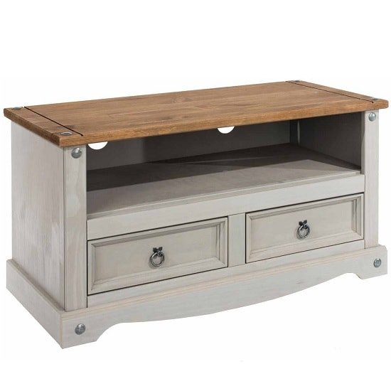 Dove Wooden TV Stand In Grey With 2 Drawers