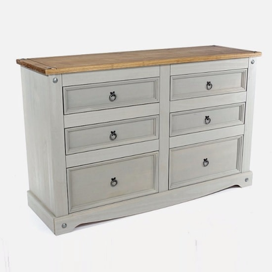 Dove Wooden Chest Of Drawers Wide In Grey With 6 Drawers