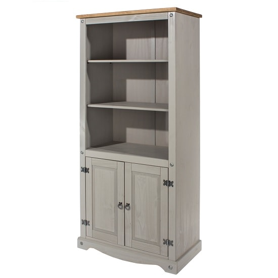 Dove Wooden Bookcase In Grey With 2 Doors